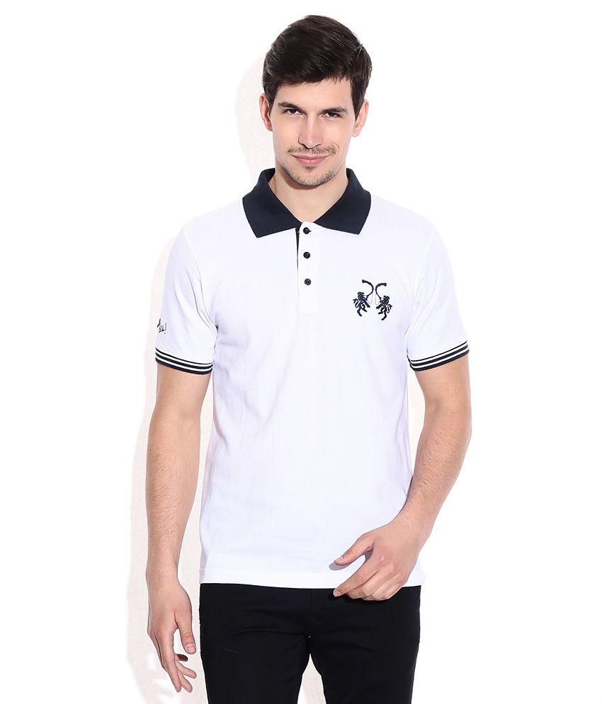 IPL T20 Rajasthan Royals Official Polo T-Shirts Mens - White (Halla Bol)