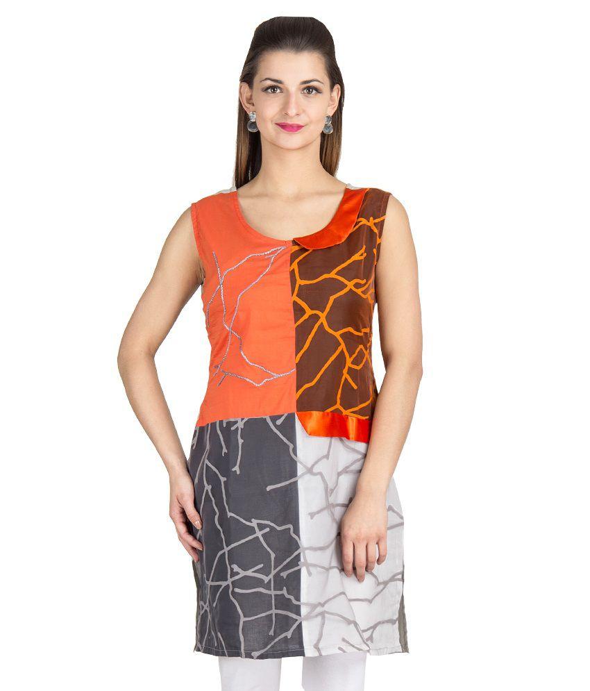 Vamakshi Gray Net Printed Sleeveless Round Neck Kurti