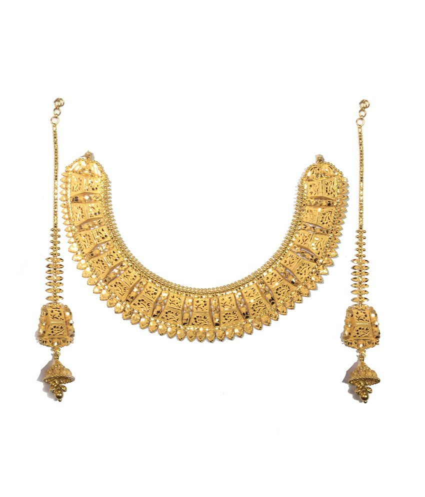 Kataria Jewellers 22KT Hallmarked Gold Traditional Complete Bridal Necklace Set