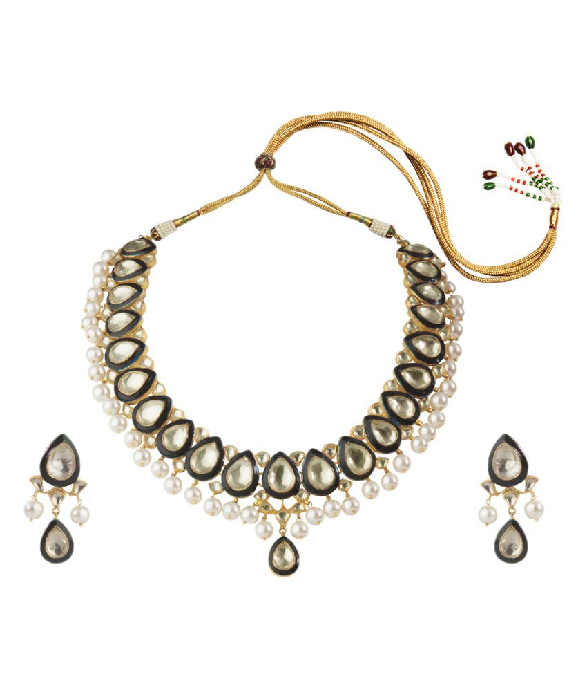 Mehtaphor Gold Plated Necklace With Earrings