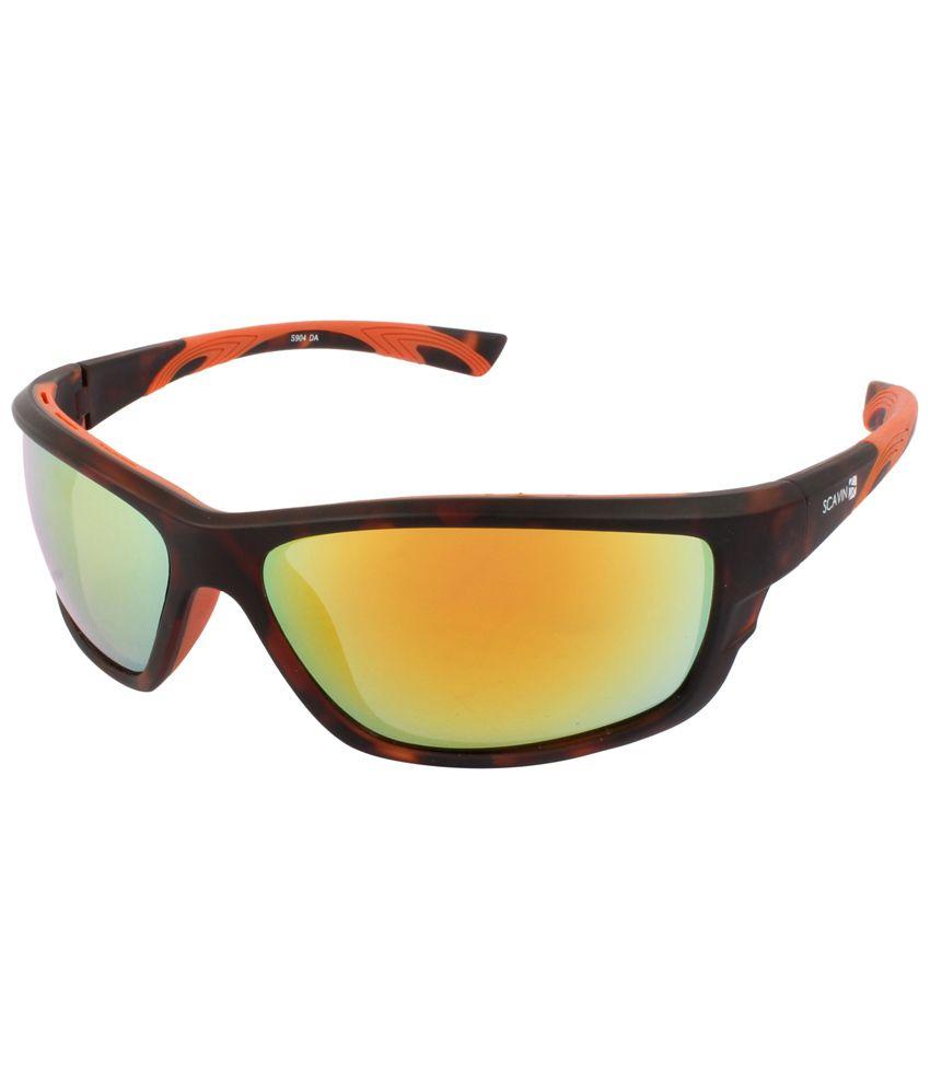 Scavin Black & Yellow Unisex Wrap Around Sunglasses