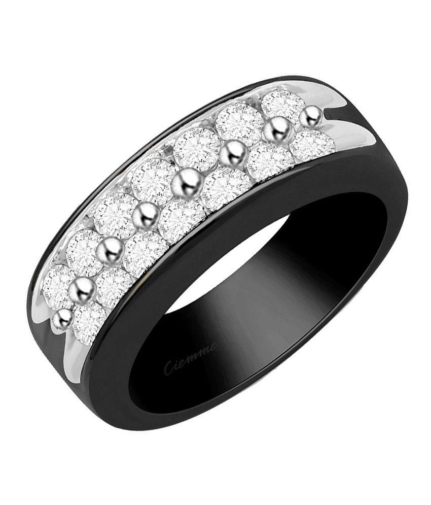 Ciemme 1.72 Ct Black Rhodium Plated Fancy CZ Ring