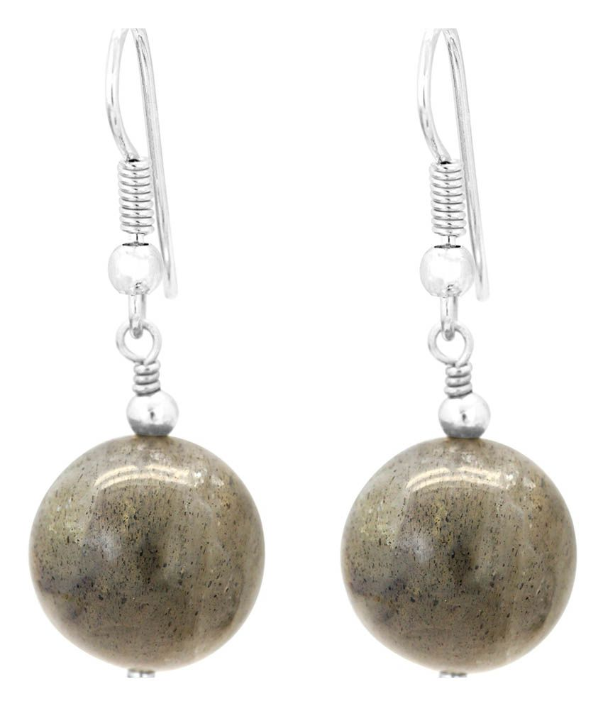 Gemtogems 92.5 Sterling Silver Drop Style Labradorite Earrings With Sterling Silver Fish-hook Clasp