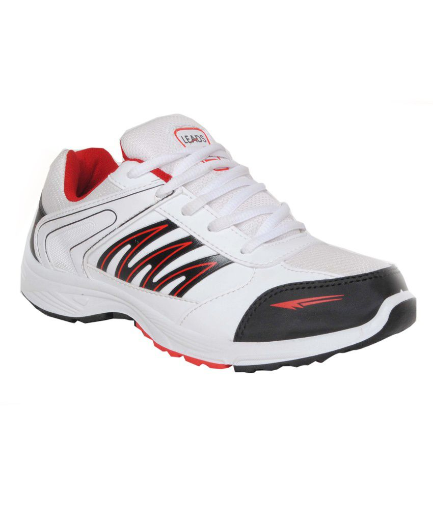 Leads Footwear White MeshTextile Sports Shoes For Men