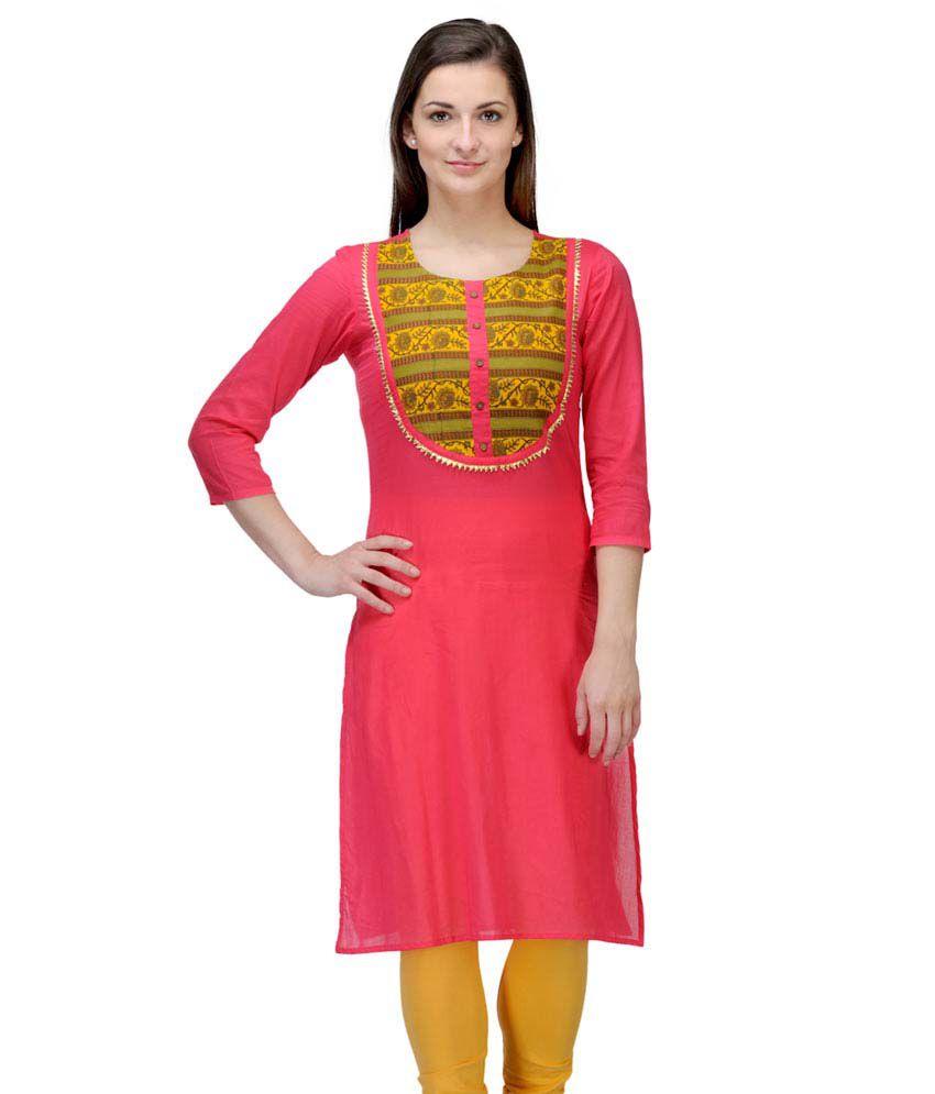 Motif Red Cotton Medium 3/4th Sleeves Solid Round Neck Women Kurti
