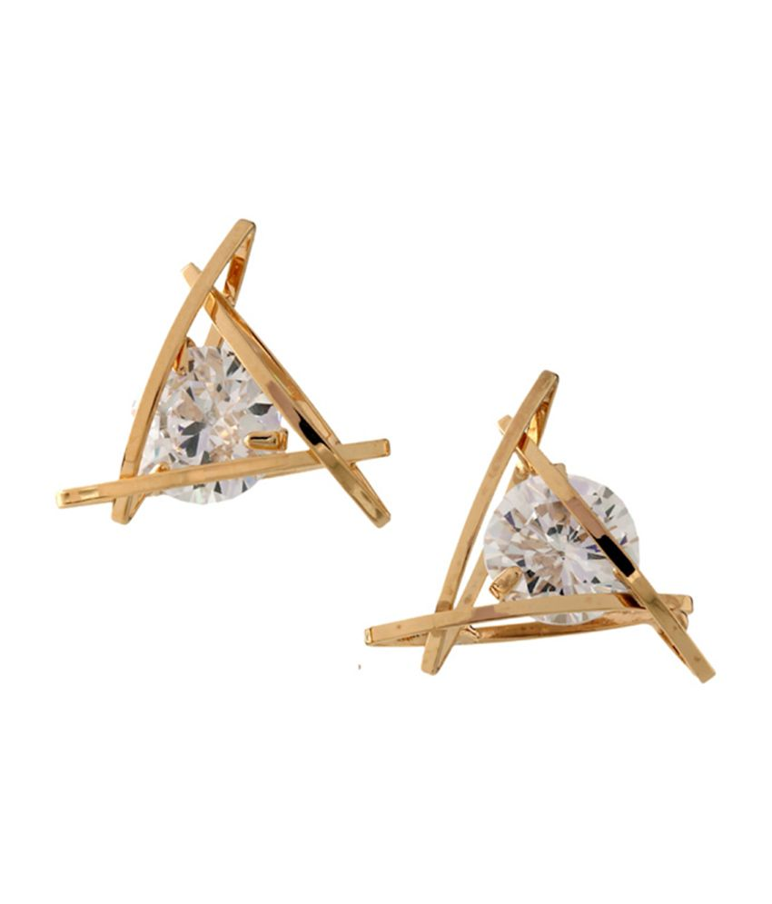 Young & Forever Gold & Swarovski Crystal Triangle Stud Earrings for Women