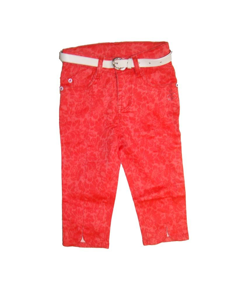 Bodingo Red Cotton Patch Work Capris