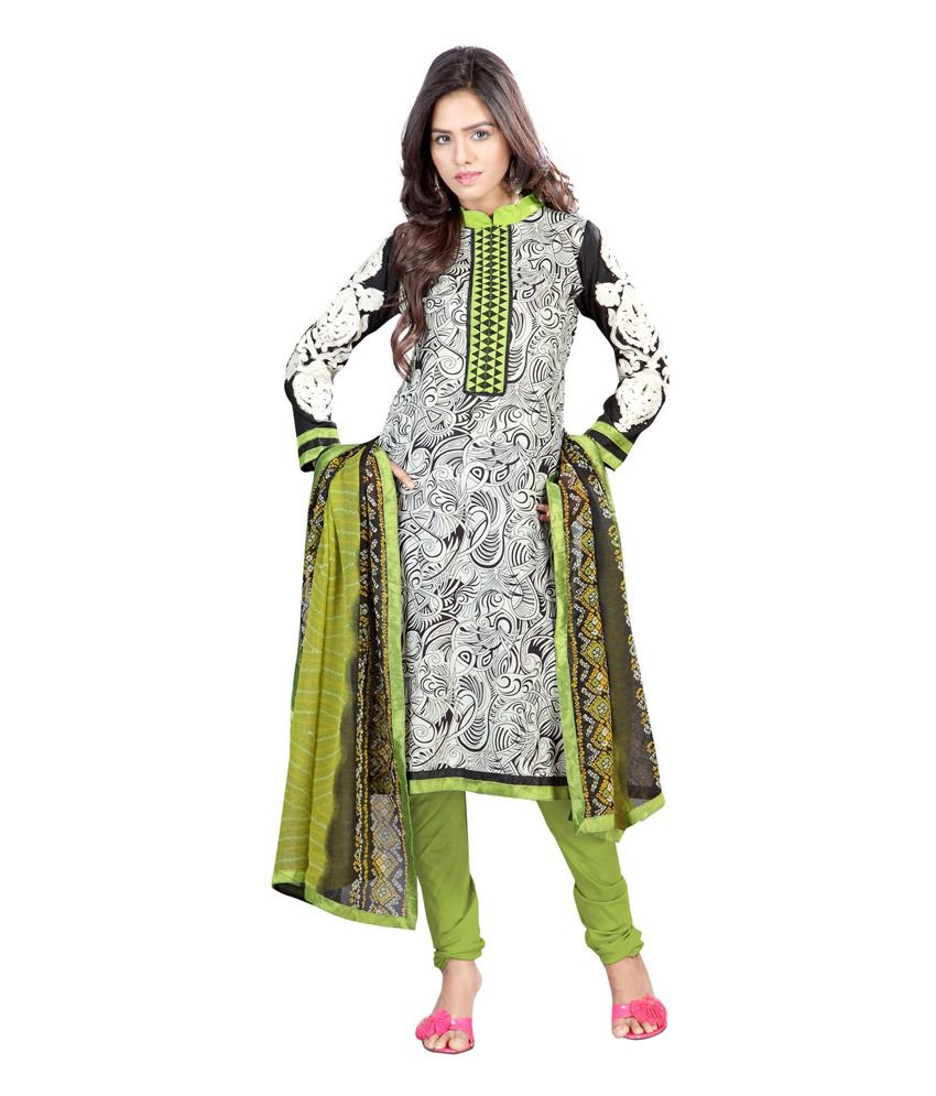 RapidDukan Green Printed Cotton Regular Fit Salwar Suit