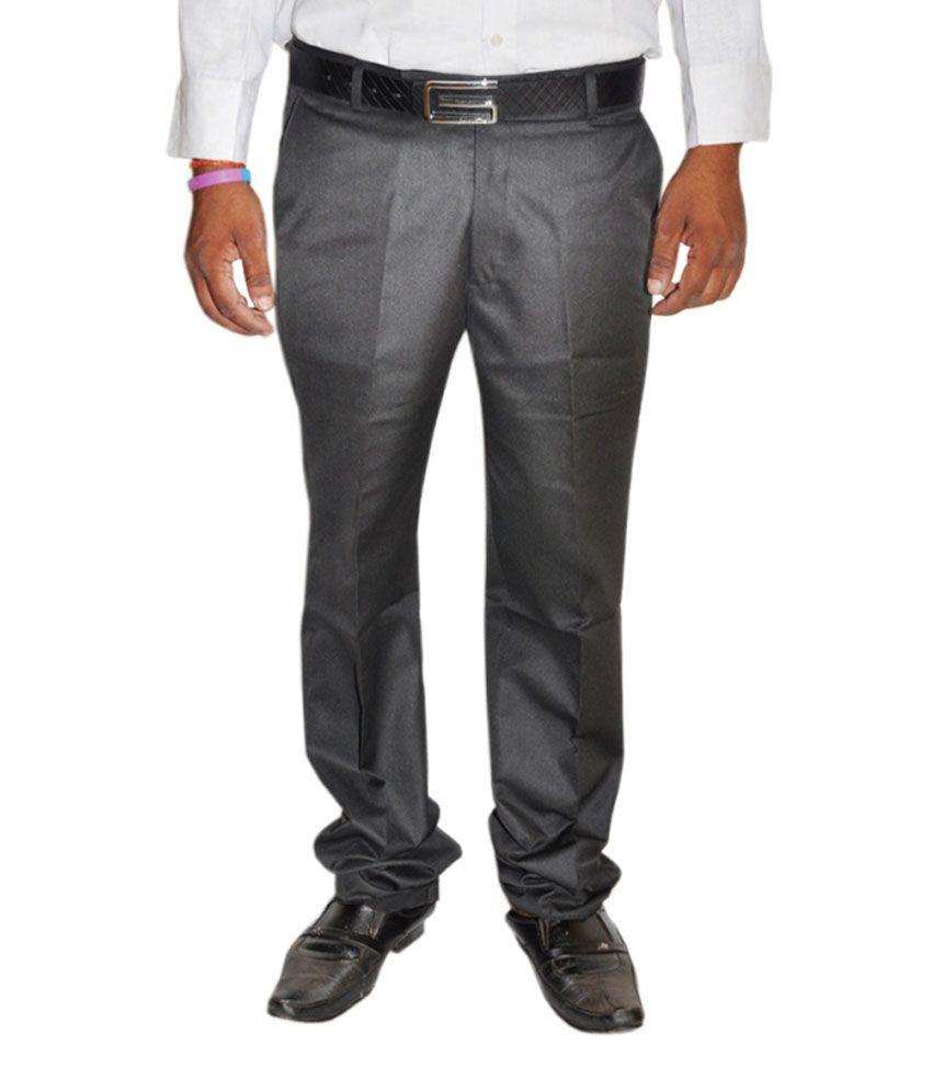 Jbn Gray Poly Viscose Trousers