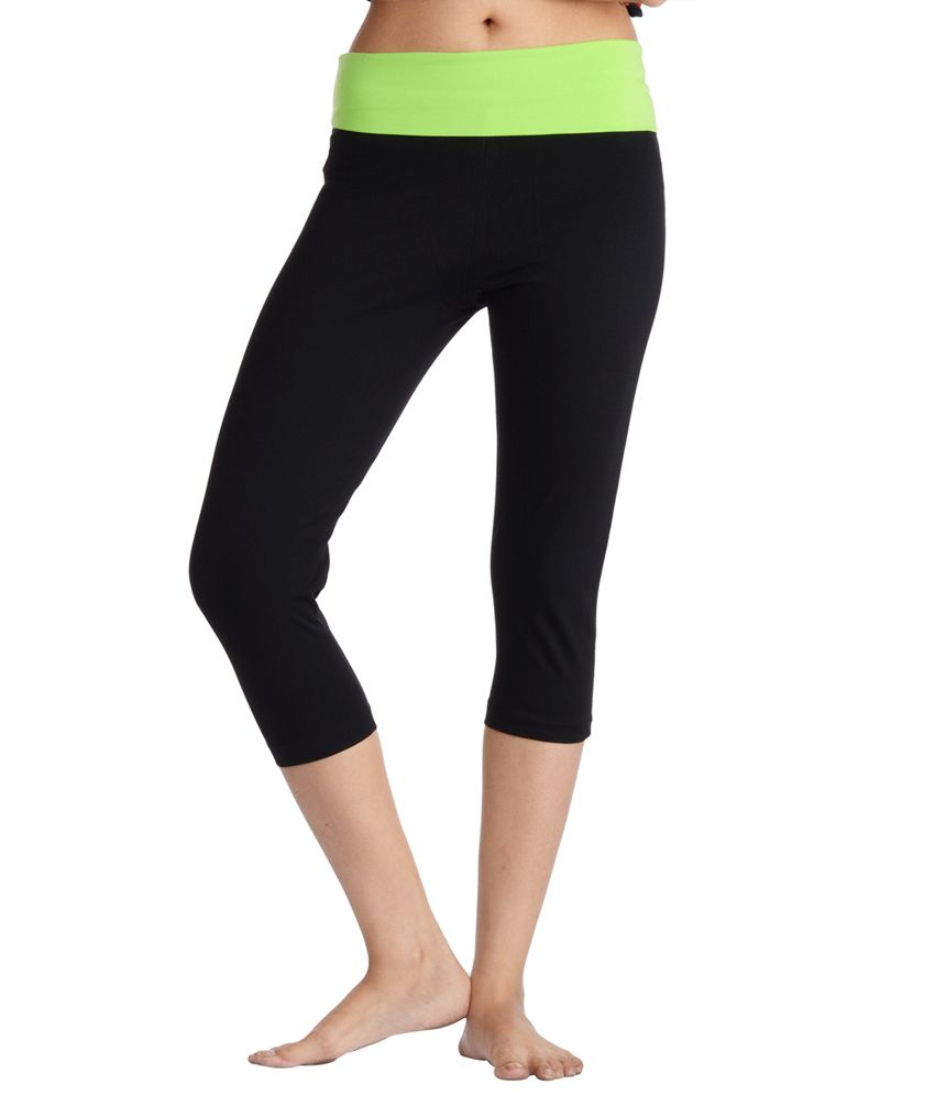 Nite Flite Black Yoga Capri With Green Foldover Waist