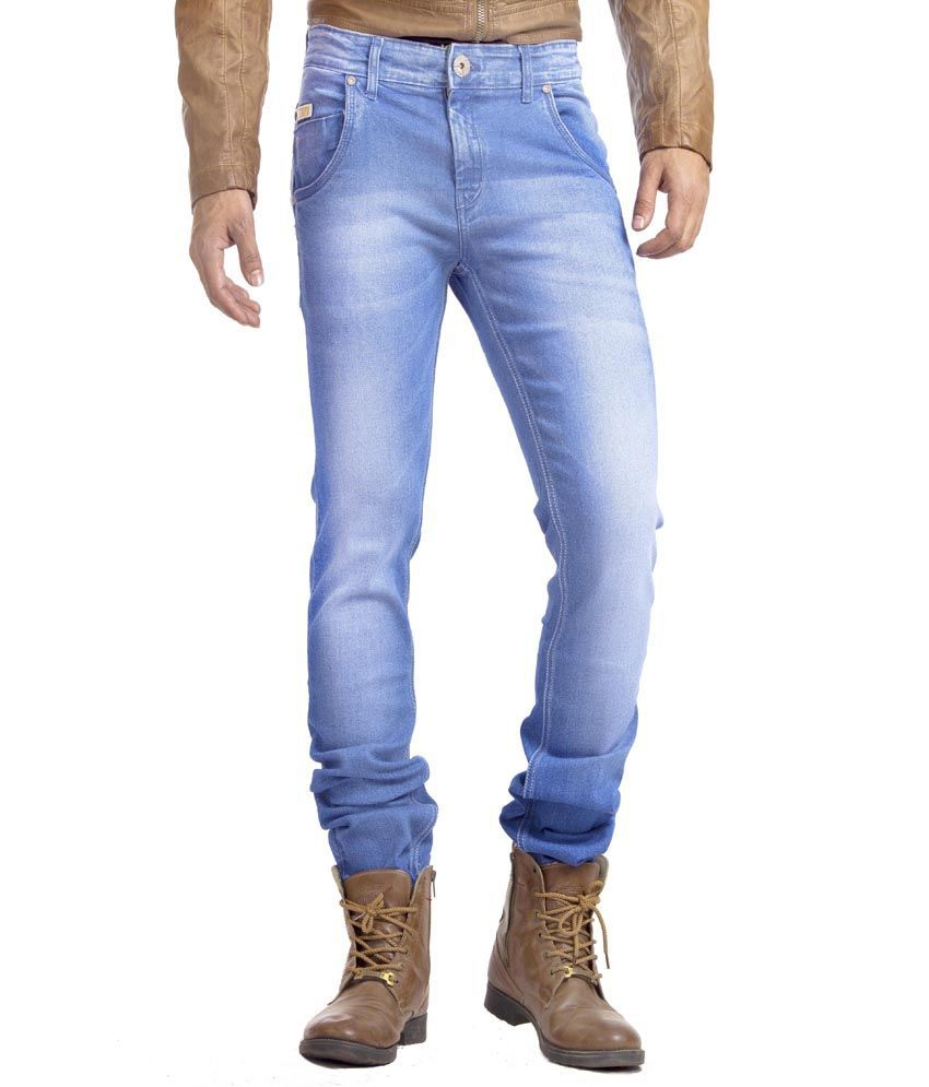 Espada Blue Cotton Slim Fit Basics Jeans For Men