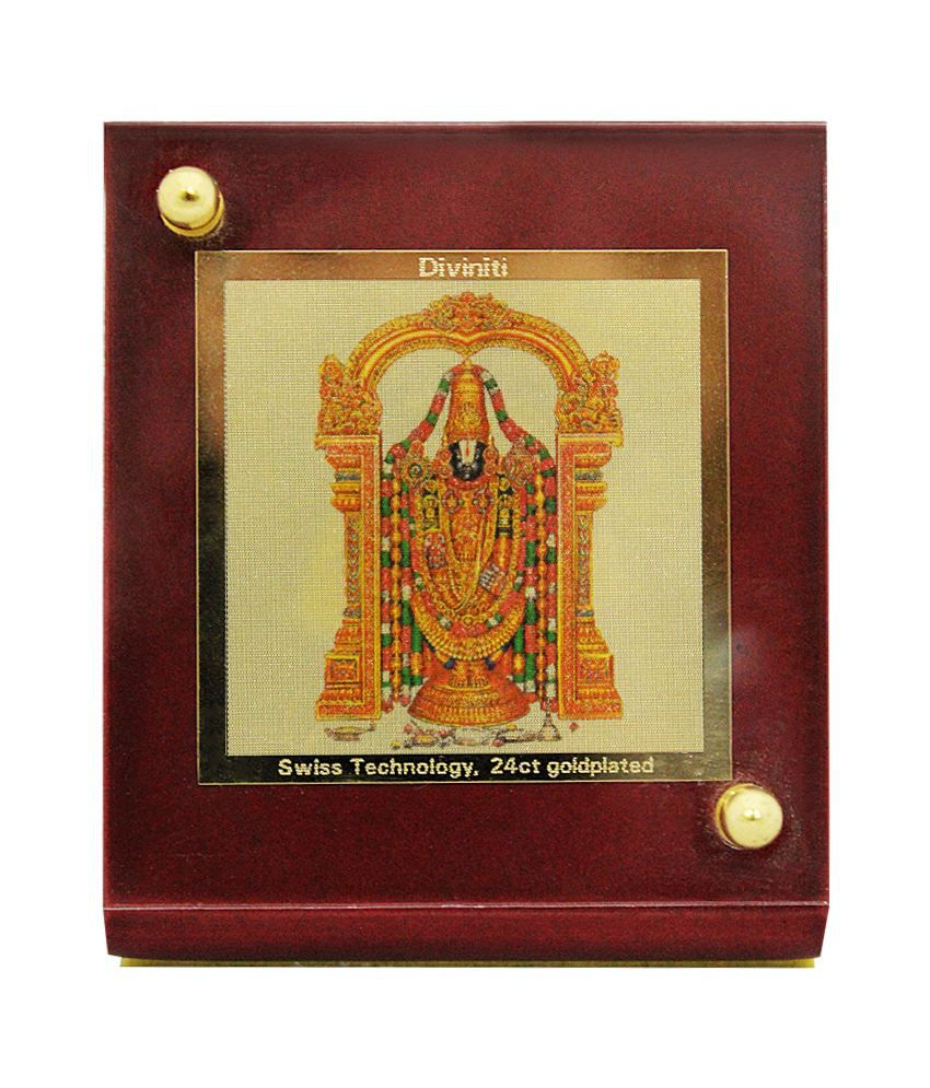 Gaadikart Diviniti Tirupati Balaji God Idol 24k Gold Plated Car