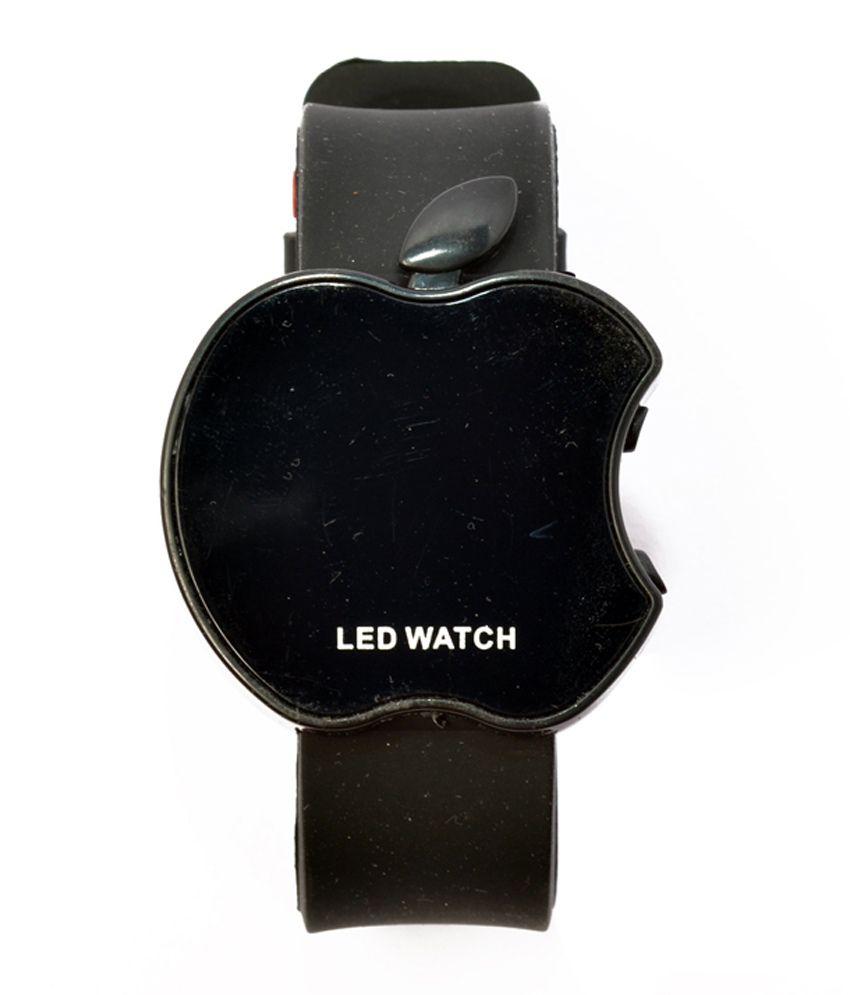 Rays Artz Led Apple Shape Black Color Kids Watch
