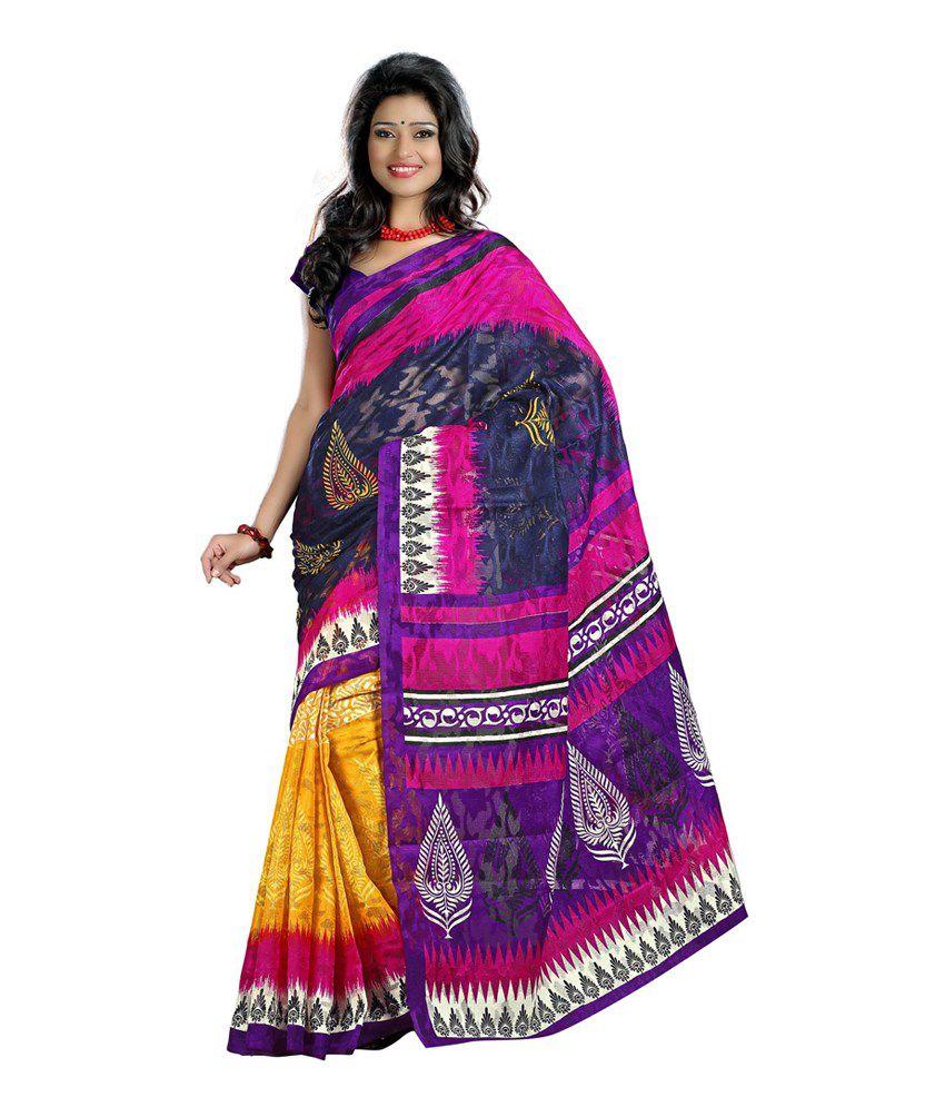 saree sarl multi color art silk saree buy saree sarl. Black Bedroom Furniture Sets. Home Design Ideas