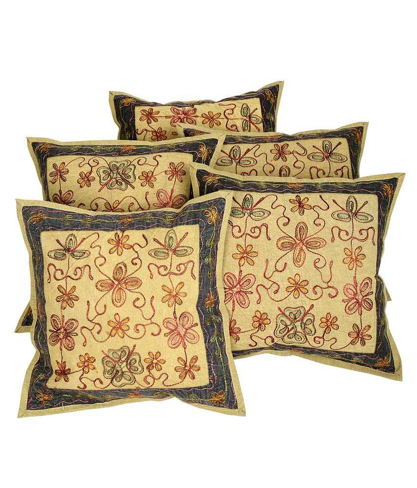 Rajrang Embroidered Olive Green Cotton Set of 5 Pcs. Cushion Cover