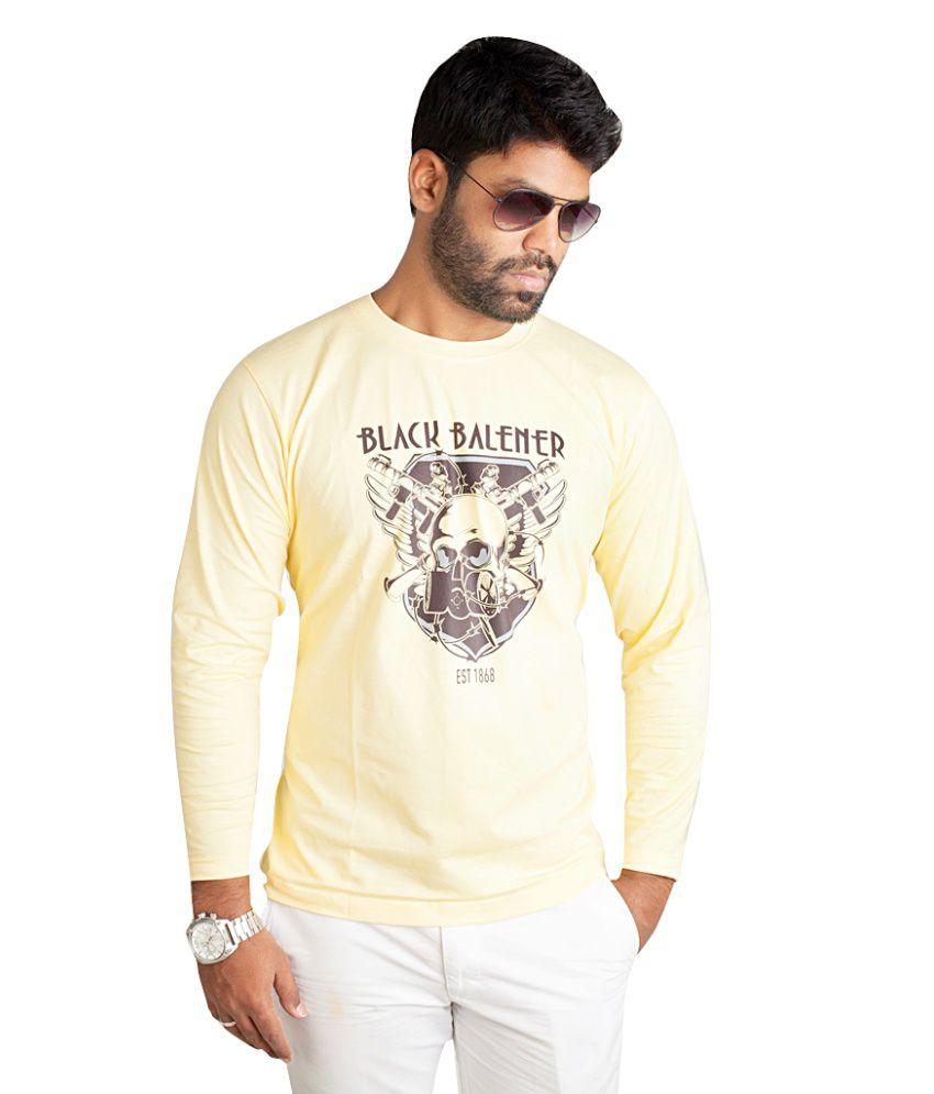 Black Balener Beige Printed Cotton T Shirt