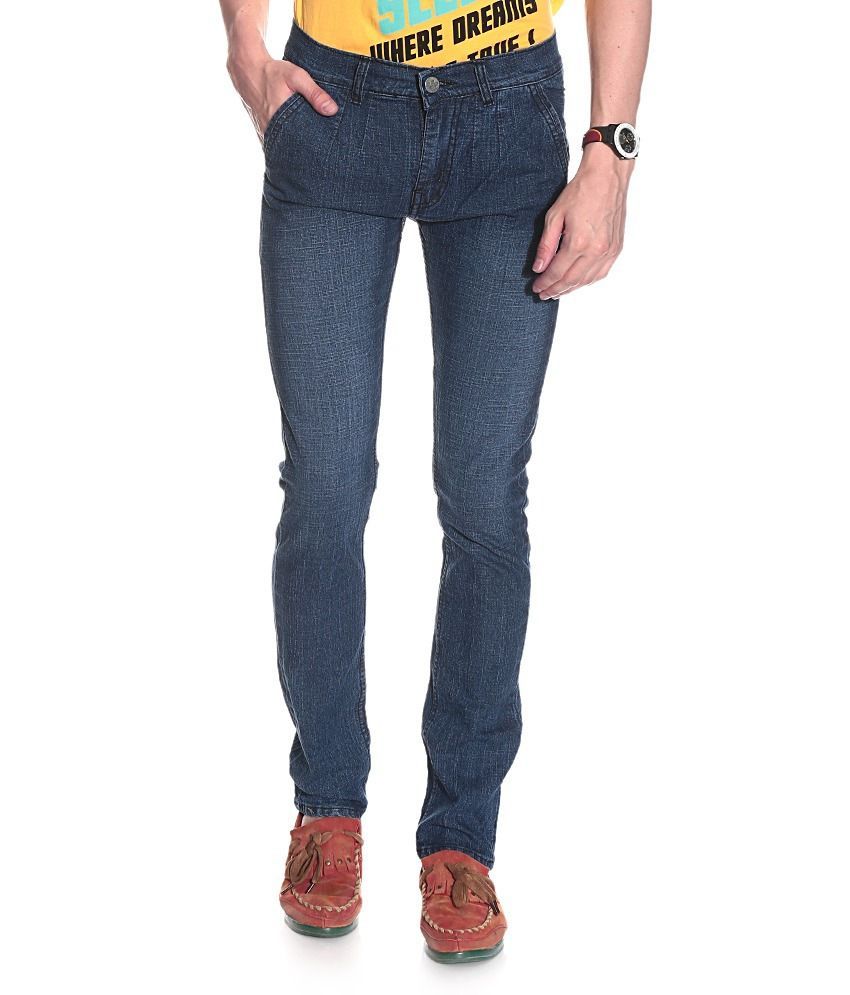 D'coral Blue Cotton Blend Faded Jeans