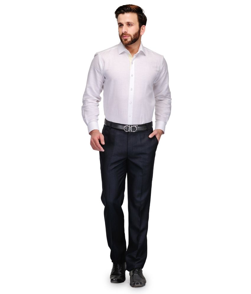 Debello Navy Poly Viscose Smart Fit Formals Trouser