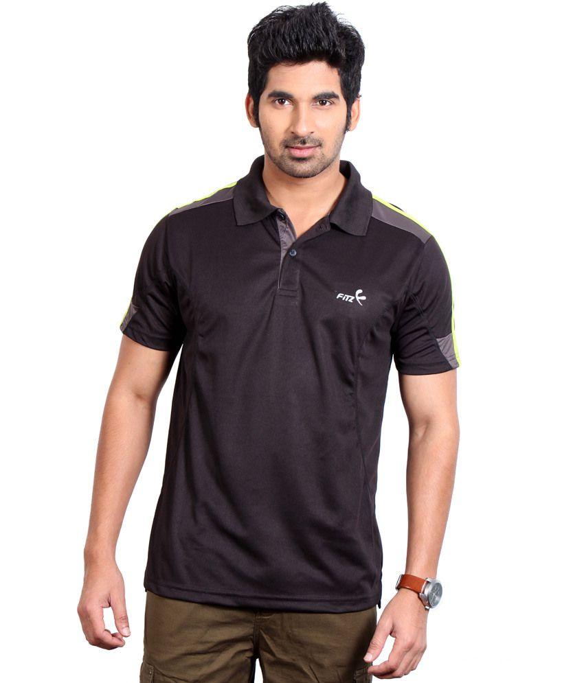 Fitz Black Polyester T-Shirt
