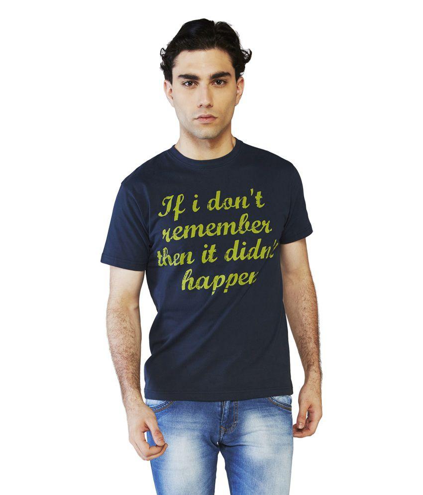 Globus Blue Cotton Half Sleeve Round Neck T-Shirt