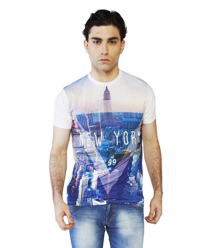 Globus White Polyester Half Sleeve Round Neck T-Shirt
