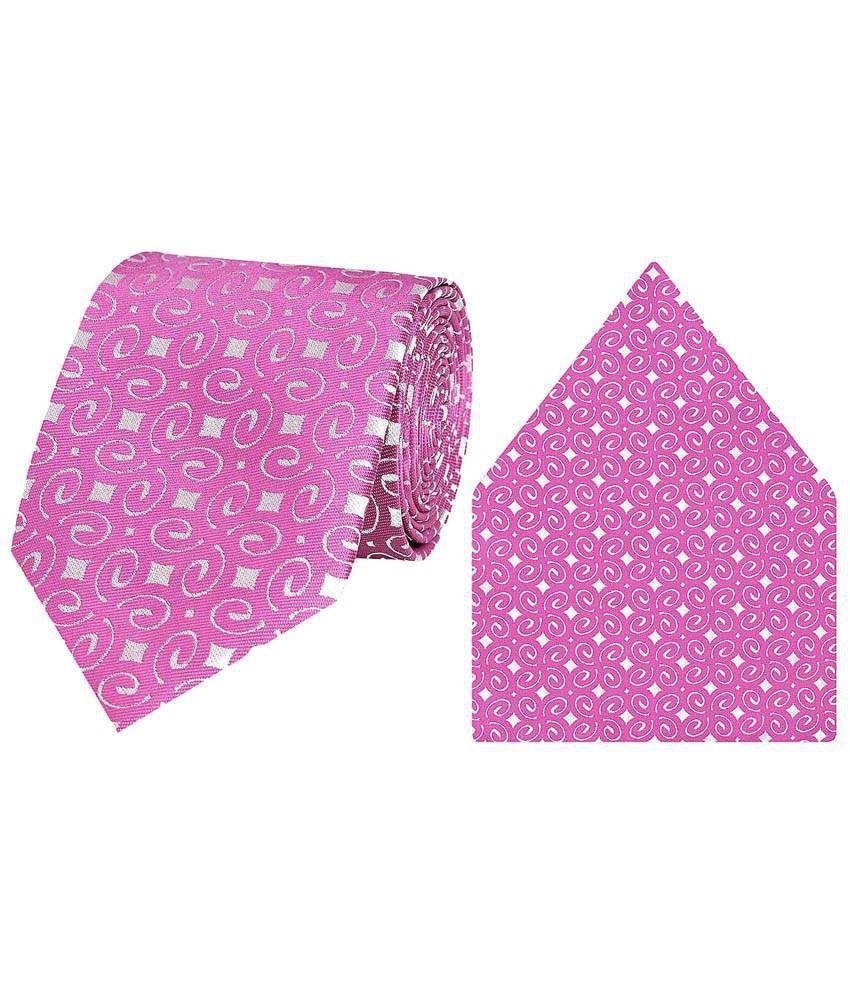 Tiekart Micro Fibre Combo Of Pink N Silver Necktie & Pocket Square