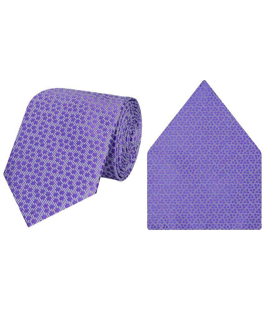 Tiekart Micro Fibre Outstanding Combo Of Purple Necktie & Pocket Square