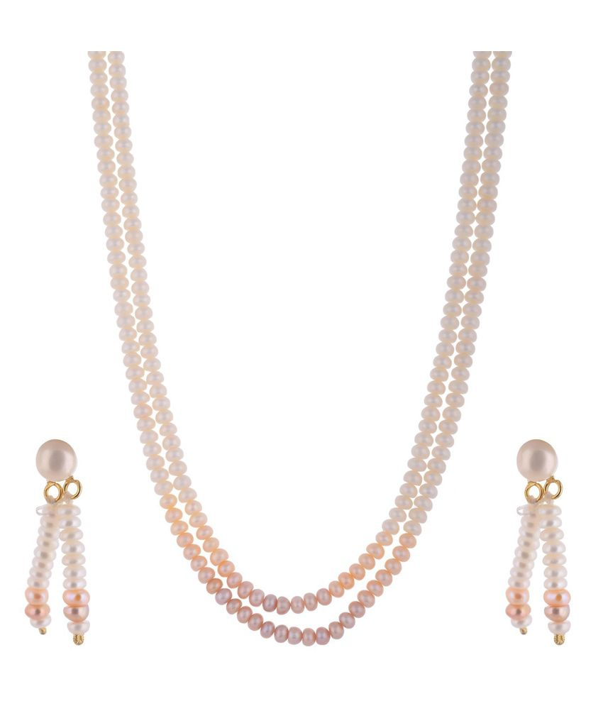 Ganapathy Gems White Two Lines Multi Shaded Pearl String