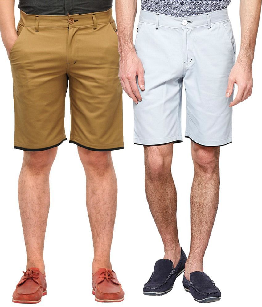 Haute Couture Chic Khaki & White Solid Shorts Combo Of 2