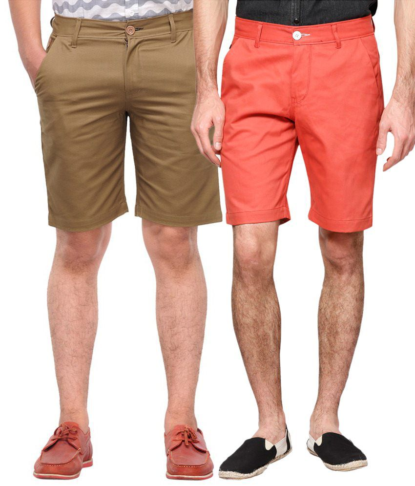 Haute Couture Striking Khaki & Red Solid Shorts Combo Of 2