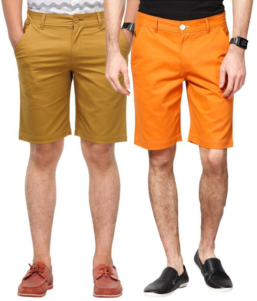 Haute Couture Worthy Khaki & Orange Solid Shorts Combo Of 2