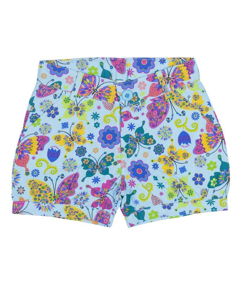 Hunny Bunny Blue Printed Cotton Shorts