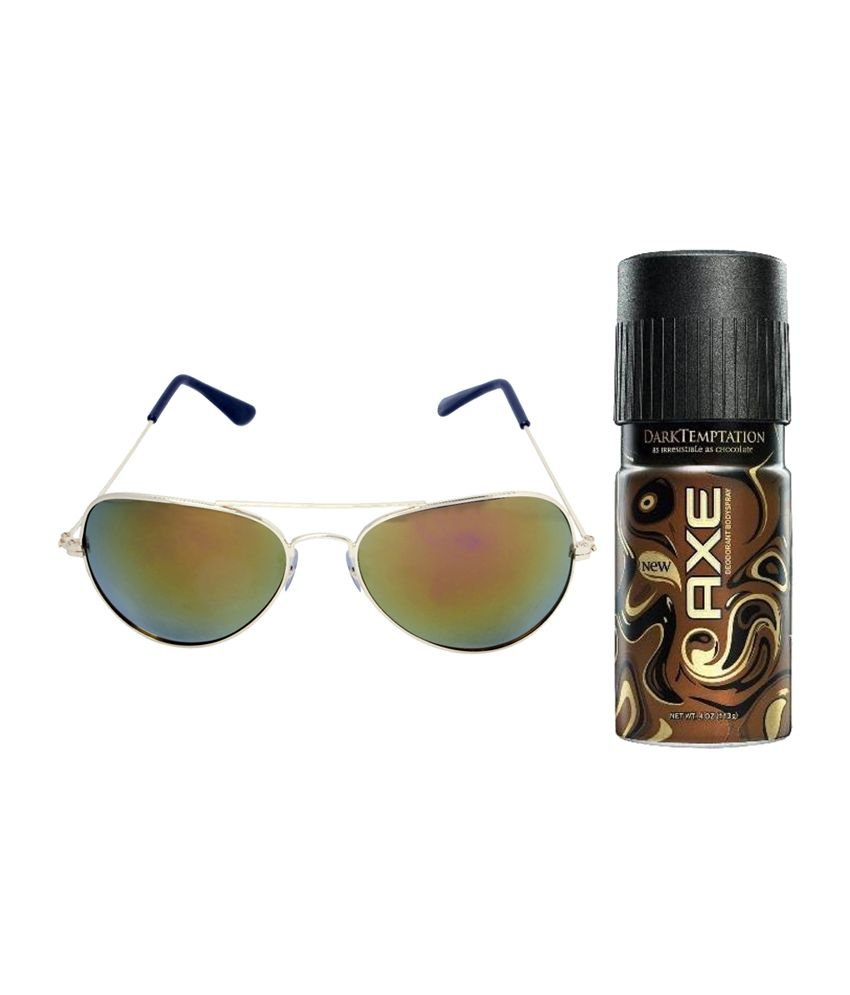 Vorosky Yellow Aviator Unisex Sunglasses with AXE Deo 150 ml (VRSSS32)