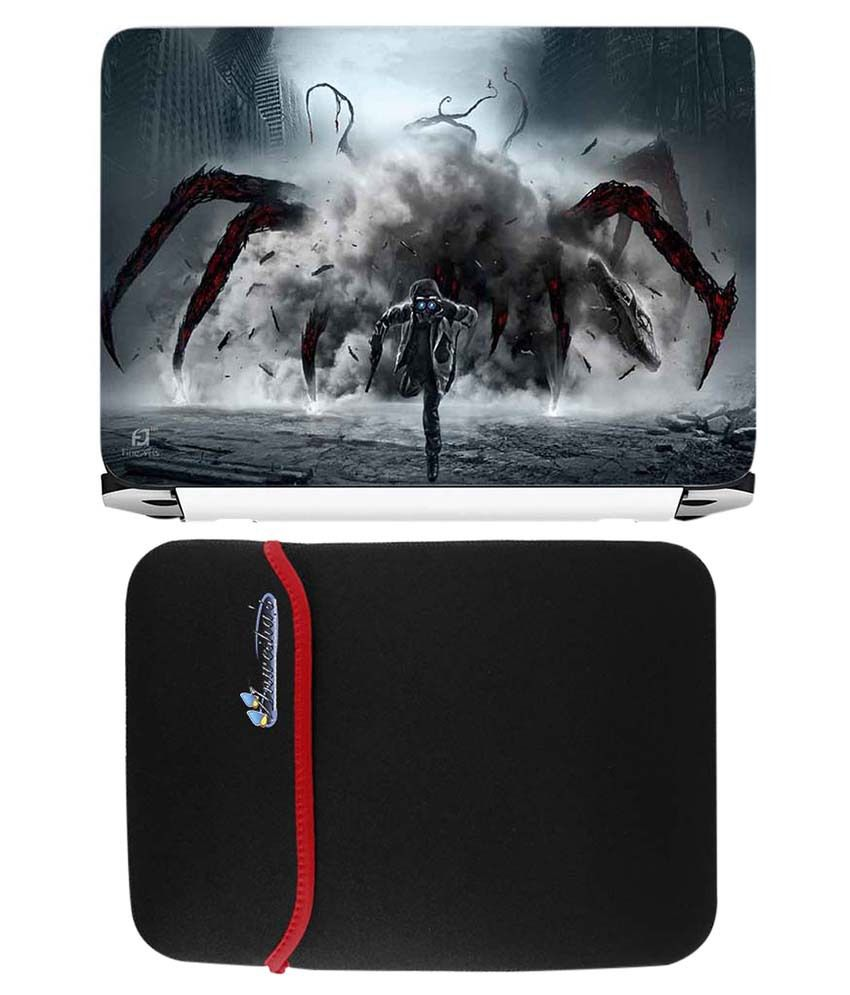 Anwesha's Red Reversible Laptop Sleeve With Spider Printed Laptop Skin