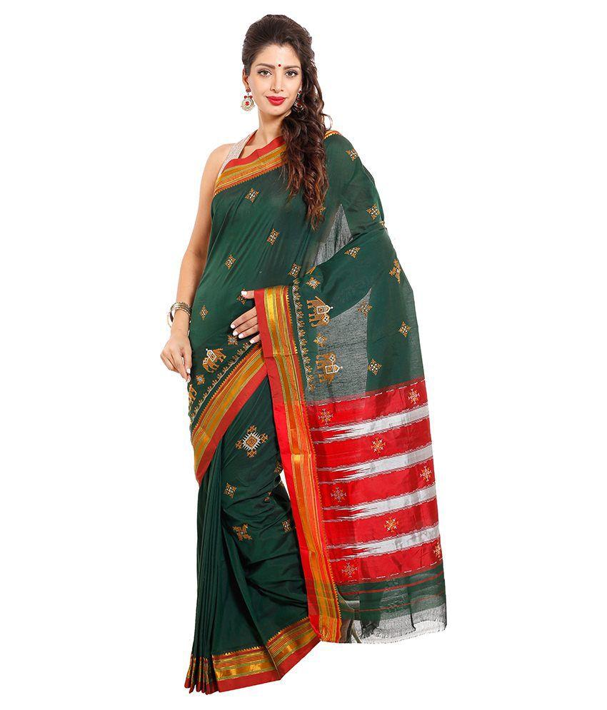 75825fc42fd554 Dhammanagi Green Cotton Silk Ilkal Saree - Buy Dhammanagi Green Cotton Silk  Ilkal Saree Online at Low Price - Snapdeal.com