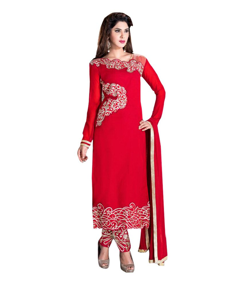 Krizel Red Faux Georgette Unstitched Dress Material
