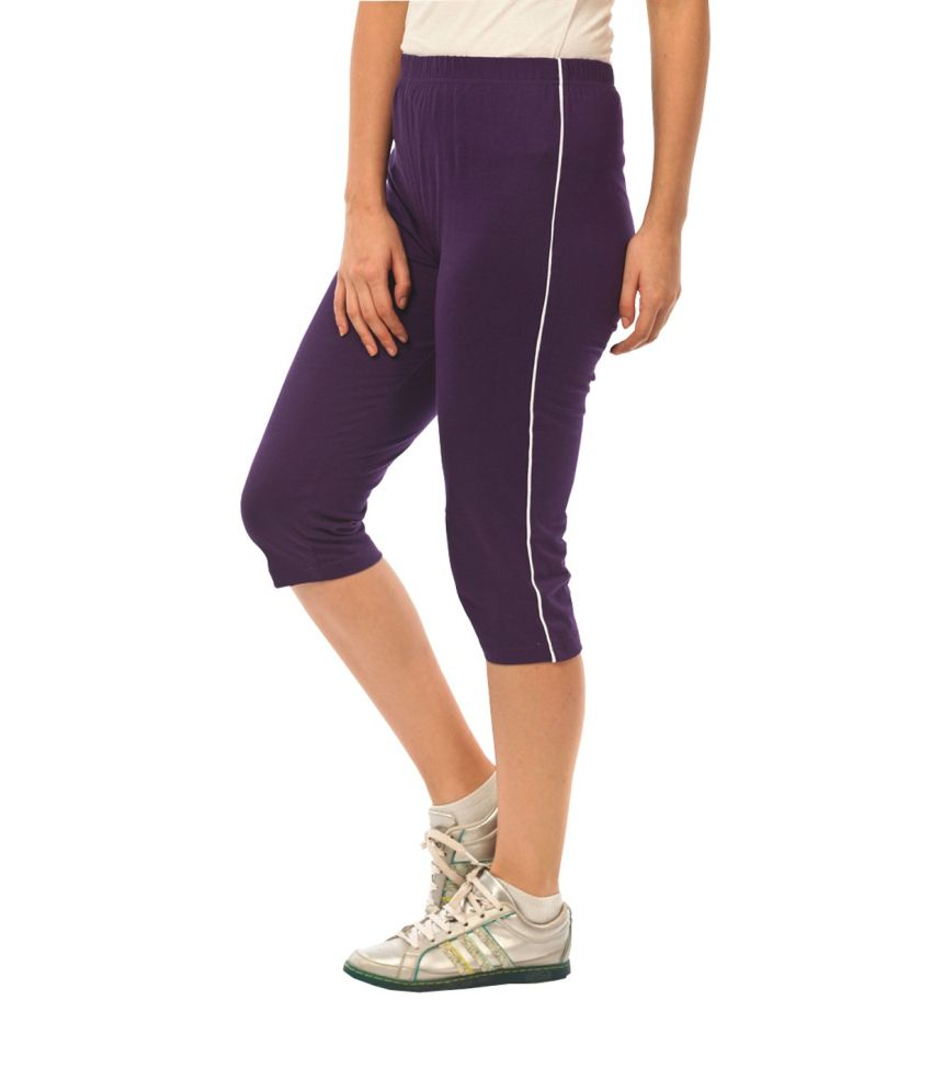 Espresso Purple Cotton Elastic Capri