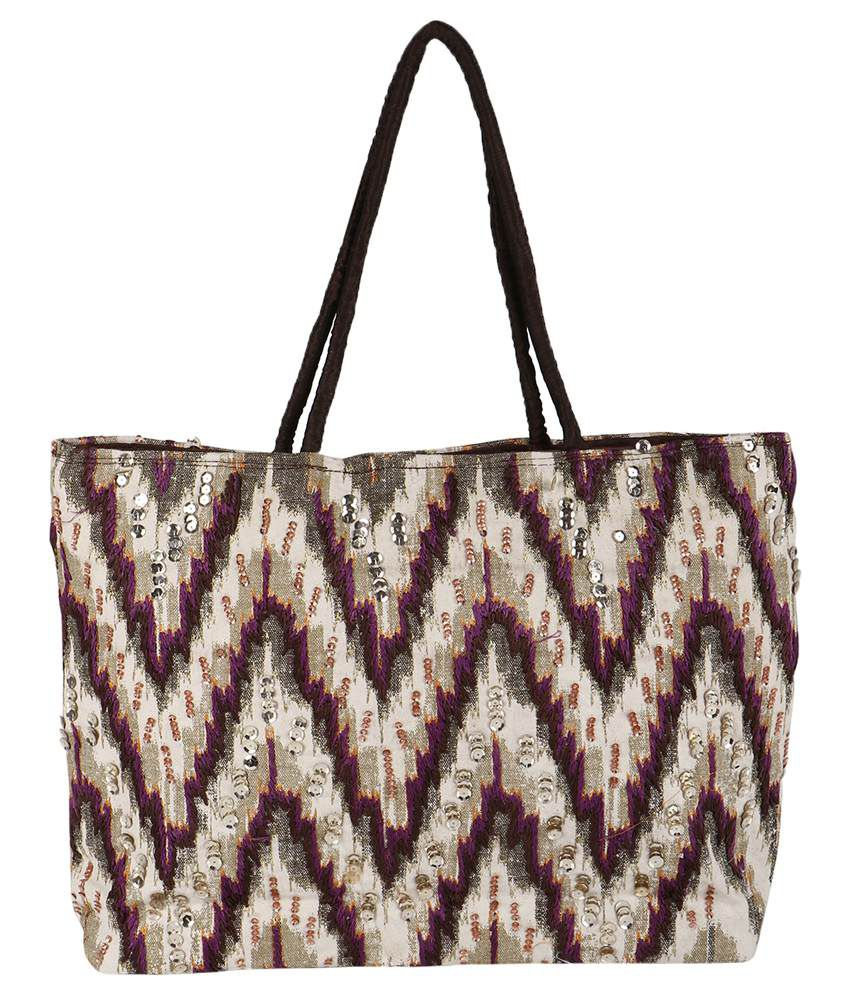 Fashiondrobe Trendy Zigzag Multicolor Double Side Beaded Handbag