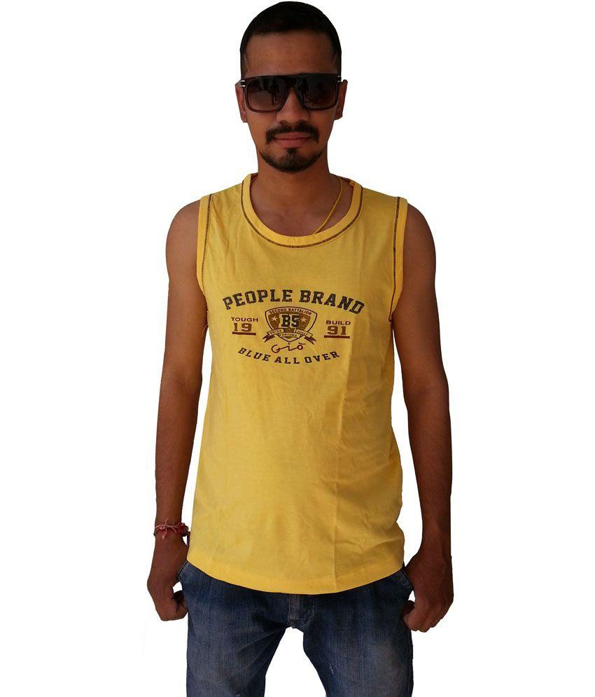 Gio Clothing Yellow Printed Cotton Round Neck Sleeveless T-shirt