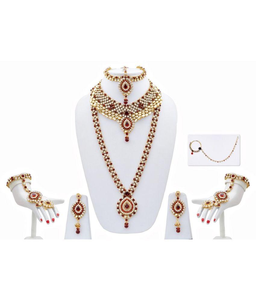 Lucky Jewellery Maroon Alloy Kundan Bridal Necklace Set