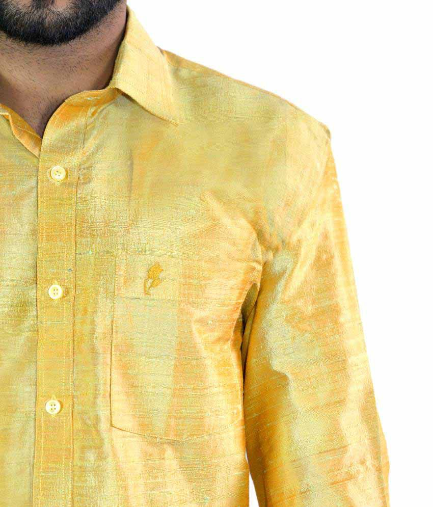 1cda55bae78706 Manora Gold Silk Shirt - Buy Manora Gold Silk Shirt Online at Best ...