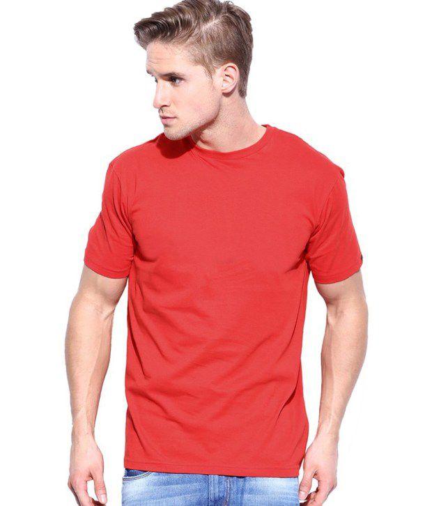 Sri Sowbarnika Tex Red Cotton Blend T Shirt For Men