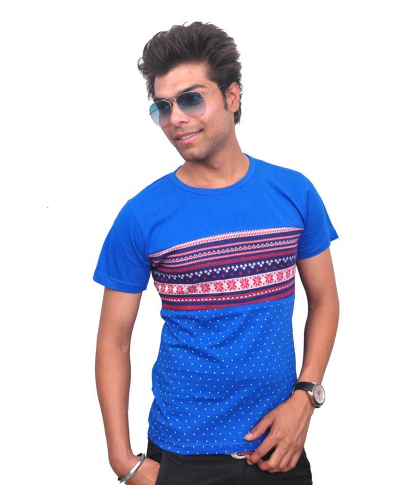 Style In Blue Cotton Round Neck Half T- Shirt For Men
