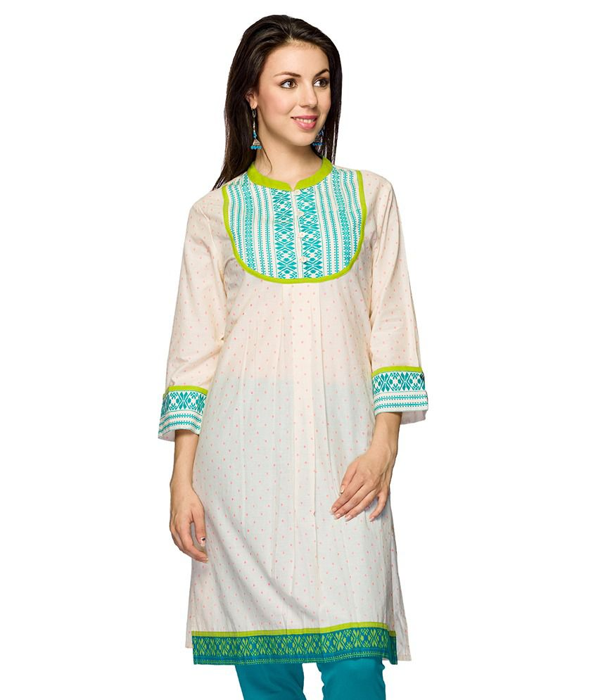 Ethnicity Off White Nylon Kurti For Women