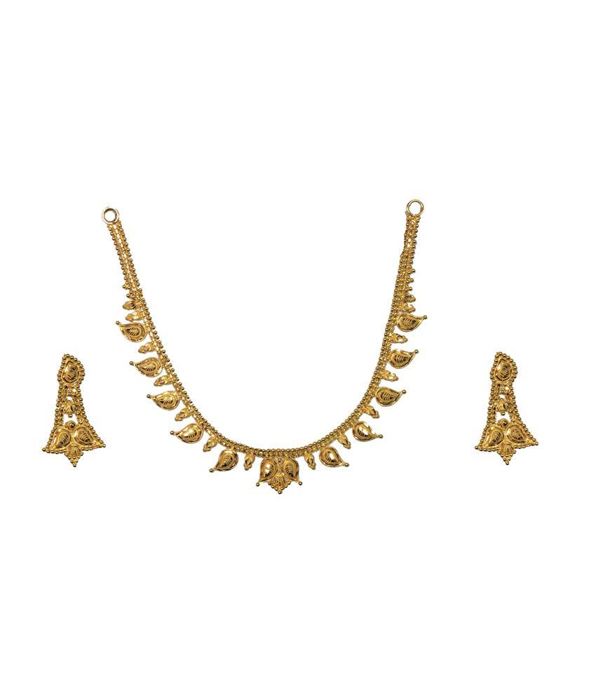 Kataria Jewellers 22kt Hallmarked Plain Gold Necklace Set