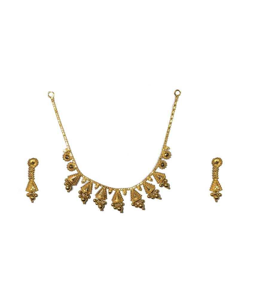 Kataria Jewellers 22kt Hallmarked Plain Gold Necklace Set