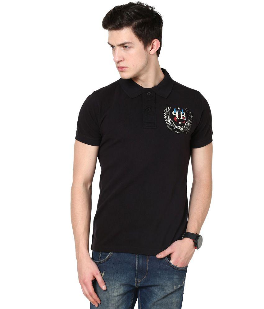 PUNK Black Cotton T Shirt For Men