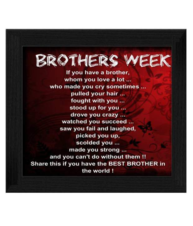 Ellicon Brother Week Quotes Tile Frame Buy Ellicon Brother Week