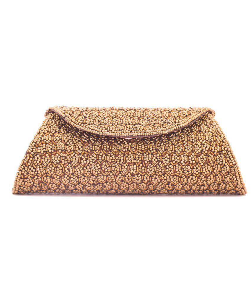 Kleio Ethnic Full Flap Beads Embellished Clutch (Golden)