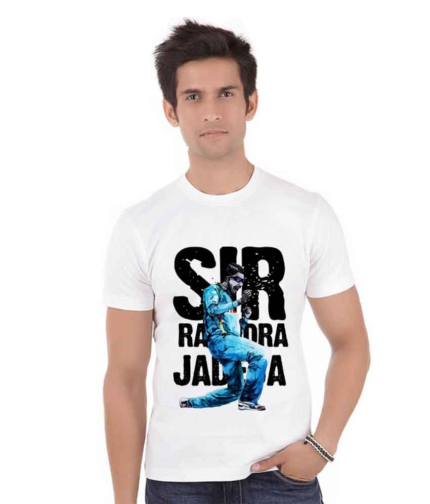ShopMantra White Printed Polyester Half Sleeves Round Neck T-Shirt For Men